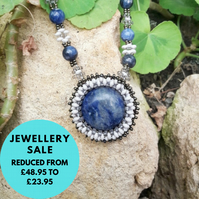 SALE - Sodalite Gemstone Beadwork Necklace