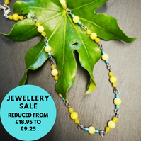 SALE  - Beaded Yellow gemstone necklace