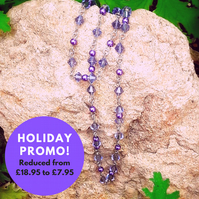 SALE Beaded purple chain necklace