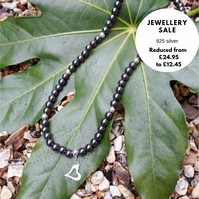 SALE - Hematite and Sterling Silver Necklace