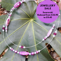 SALE Gemstone and Swarovski crystal Necklace