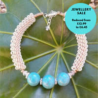 SALE Gemstone Wirework Bracelet