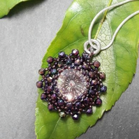 Purple crystal beadwork necklace