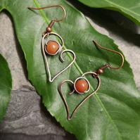 Carnelian Wire work Heart Earrings