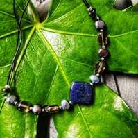 Leather gemstone necklace
