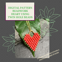PDF DIGITAL PATTERN - INSTRUCTIONS FOR BEADWORK HEART PATTERN