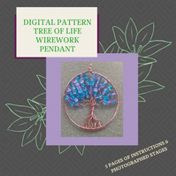 PDF DIGITAL PATTERN - INSTRUCTIONS FOR  WIREWORK TREE OF LIFE PENDANT