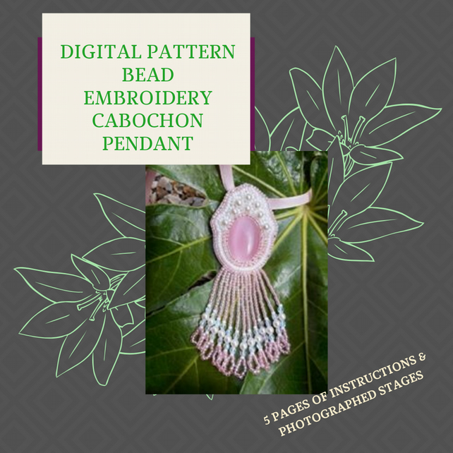 PDF DIGITAL PATTERN - INSTRUCTIONS FOR  BEAD EMBROIDERY PENDANT