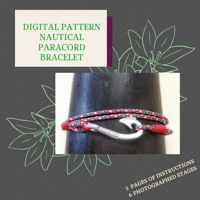 PDF DIGITAL PATTERN - INSTRUCTIONS FOR A NAUTICAL PARACORD BRACELET