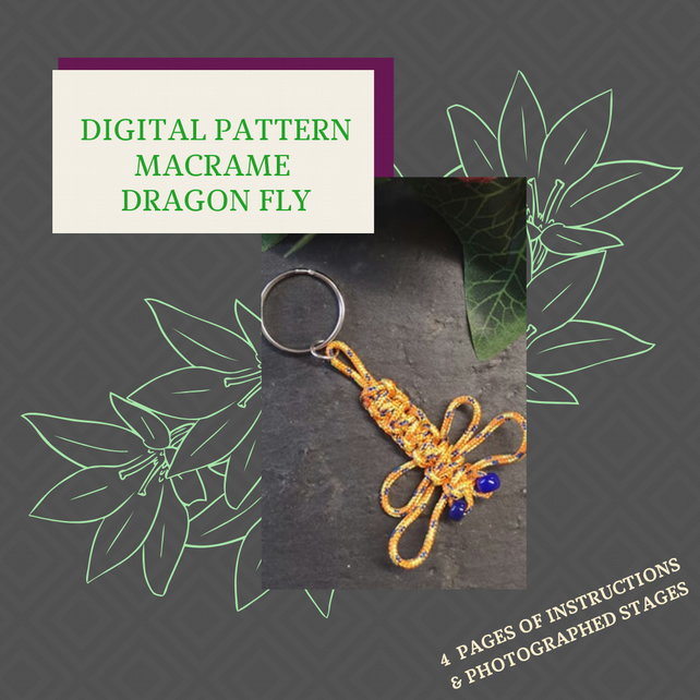 PDF DIGITAL PATTERN - INSTRUCTIONS FOR MACRAME DRAGONFLY