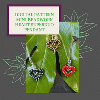 PDF DIGITAL PATTERN - HOW TO MAKE A MINI HEART BEADWORK PENDANT