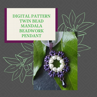 PDF DIGITAL PATTERN - BEADWORK MANDALA PENDANT USING TWIN BEADS