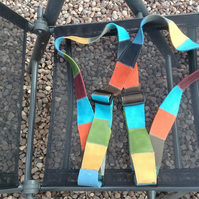 Hand crafted colourful leather autoharp straps