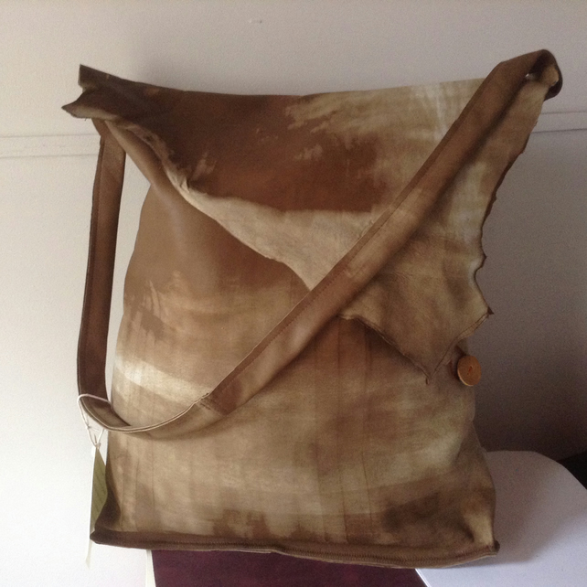 Big Unique Leather Tote with Green Silk Lining