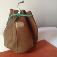 Baby leather pouch bag