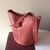 Unique Leather Tote Bag in Salmon Pink
