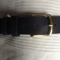 "1.5"" wide Handcrafted Quality Pull-up Leather Belt 2mm approx thick in Black"