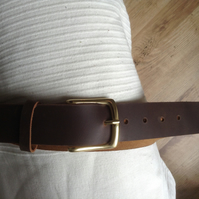 "1.5"" wide Handcrafted Quality Pull-up Leather Belt 2mm approx thick in Brown"