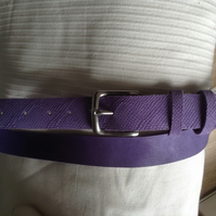 "1.25"" wide quality nickel buckle belt in quality lilac embossed leather"