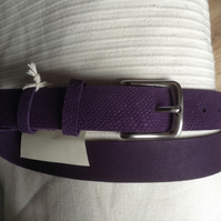 "1.25"" wide quality nickel buckle belt in quality purple embossed leather"