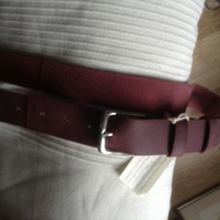 "1.25"" wide brass buckle belt in quality pull-up burgundy leather"