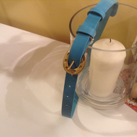 20mm skinny belt in turquoise with quality horseshoe brass buckle