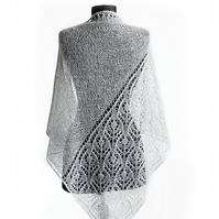 weding lace shawl, white mohair shawl, knitted shawl