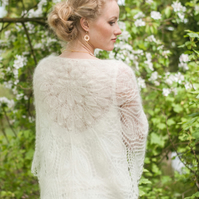 weding lace shawl, white mohair shawl, bride wrap