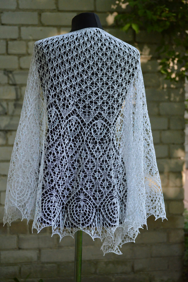 lace shawl, linen shawl, knitted shawl, shawl with beads