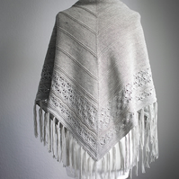 lace shawl with beads, knitted shawl
