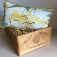 Clematis Print and Lemon Velour Cushion