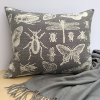 Adorable Insect Cushion, Butterfly Dragonfly Beetle in Cream & Grey