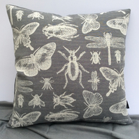 Adorable Beetle and Insect Cushion in Grey & Cream 48cm X 48cm Square