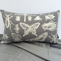 Cute Butterfly Cushion in Grey & Cream 48cm x 29cm Complete With Pad