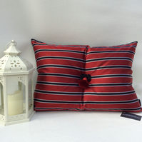 Red Striped Silk and Black Velvet Cushion with Tassel and Celtic Knot & Pad