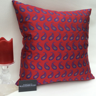 Red Silk Paisley and Velvet Cushion - 49cm Square - Feather Pad Included