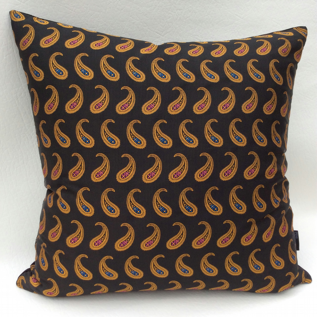 Black Silk Paisley and Velvet Cushion 48cm X 48cm Complete With Pad