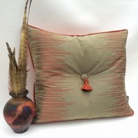 Unusual Cushion Copper and Taupe with Tassel 50cm X 45cm with Feather Insert
