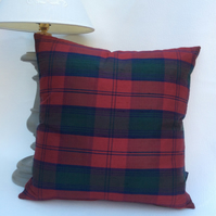 Silk Tartan and Red Velvet Cushion - 49cm x 49cm with Feather Pad