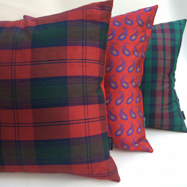 Silk Tartan and Red Velvet Luxury Cushion - 49cm x 49cm with Feather Pad