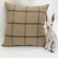 Country Check and Velvet Cushion - Sanderson Henley Designer Fabric