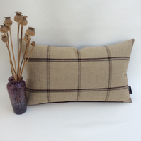 Country Check and Velvet Scatter Cushion 29cm x 49cm - Sanderson Henley Designer