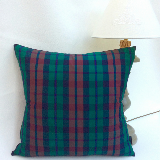 Green Tartan Silk Taffeta and Plum Velvet Cushion 49cm X 49cm with Feather Pad