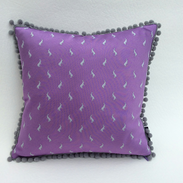 Little Hares Silk Cushion with Bobble Trim Lilac and Grey 30x30cm Pad Included