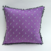 Hare Silk Cushion with Bobble Trim, Lilac and Grey, 30x30cm Pad Included