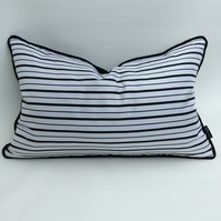 Woven Silk & Velvet Cushion in Black and White Stripes 50 X 30 cm Pad Included