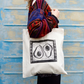 Avocado Tote bag Linocut Hand printed cotton tote bag with African tribal border