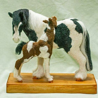 """Mare and Foal"" OOAK mixed media needle felted sculpture on reclaimed wood base."