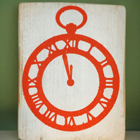 Clock wooden sign