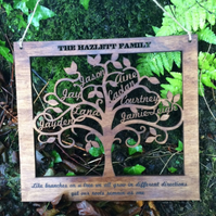 Wooden Personalised Family Tree Wall Art Gift - Personalise with 12 names